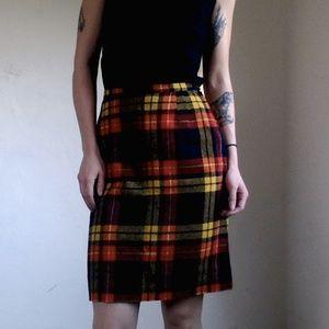 <VTG> Plaid Fall Wool Pencil Skirt